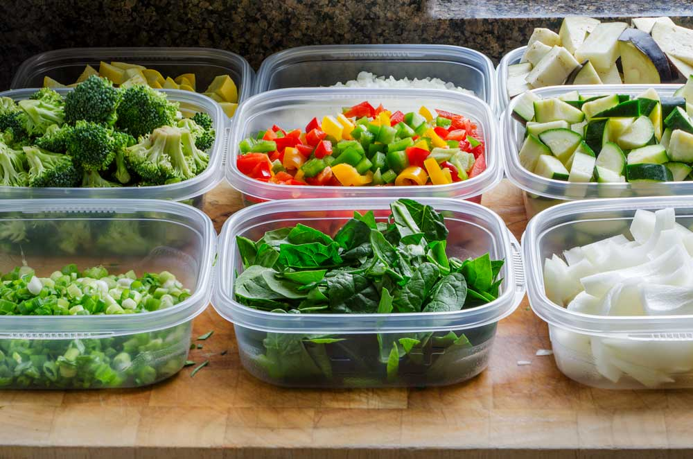 Cut Vegetables in Tupperware